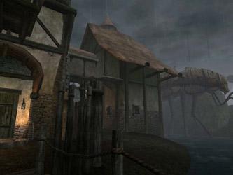 Capture d'écran: un village sous la pluie avec un Stilt Strider au fond